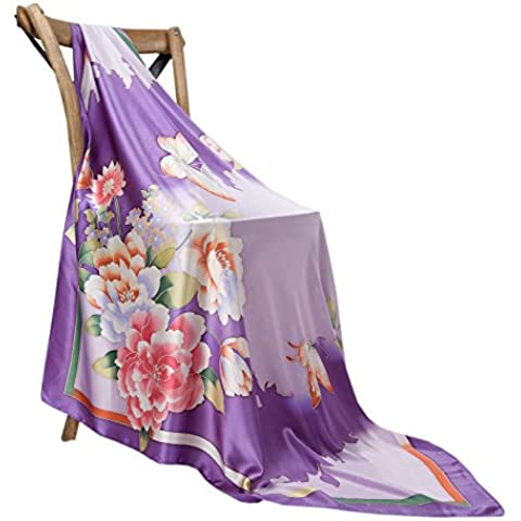Prettystern - pintado a mano bufanda de seda 110cm pasteles patrón de flor de la pintura china