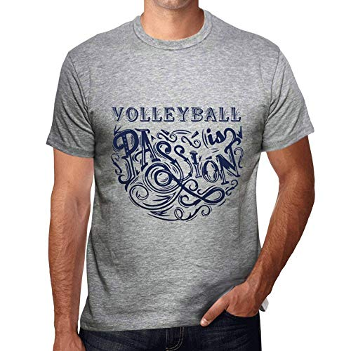 d3ae36dfe One in the City Hombre Camiseta Gráfico T-Shirt Volleyball Is Passion Gris  Moteado