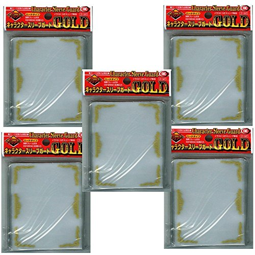 [Gold] KMC Character Sleeve Guard 60 pcs ×5 Sets (5 Packs/total 300 Sheets) (Japan Import) Made in Japan -