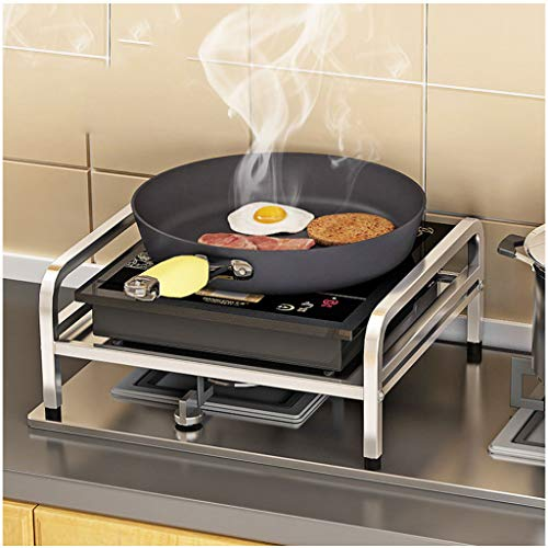 SHELFDQ Edelstahl Induktionsherd Regal Küche Gasherd Abdeckung Rack Bracket Multifunktionale Lagerregal Single Layer (größe : 40 * 35 * 16.5CM)
