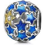 NINAQUEEN Mujer Abalorio Charm Plata 925 Esmalte azul Compatible pulsera Pandora joyería regalos para Navidad Cumpleaños Aniversario Boda novia esposa madre hija damas niñas su