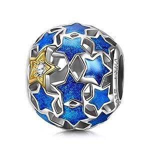 NINAQUEEN Sternenklare Nacht Damen Bead Charm 925 Sterling Silber Emaille Blau Fit für Charm Armband und Halskette, Weihnachtsgeschenke, Kommt in Geschenkbox, Nickelfrei Bestanden SGS Test