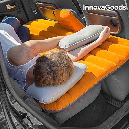 InnovaGoods Luftbett für Auto, PVC, Orange und Grau, 86x135x40cm
