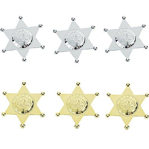 Elfen und Zwerge 6 x Deputy Sheriffstern Gold Silber Sheriff Wilder Westen Cowboy Kindergeburtstag Fasching