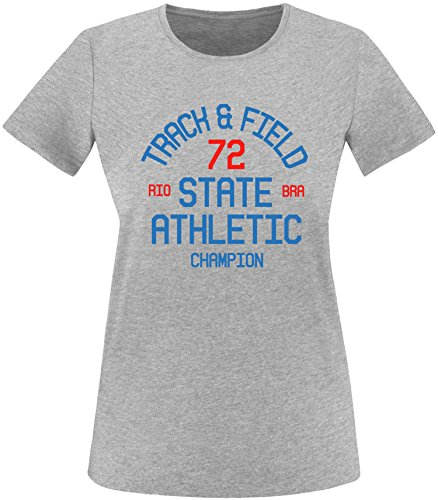 EZYshirt Track & Field Damen Rundhals T-Shirt Grau/Blau/Rot