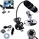 Asier Portable 50x-500x Magnification 8-led USB Digital Microscope / Dermascope / Endoscope with Stand for Education Industrial Biological Inspection