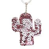 Steellwingsf MultiColori paillettes cactus portaChiavi portaChiave borsa auto impiccagione ornamento borsetta borsa borsa ciondolo-rosa