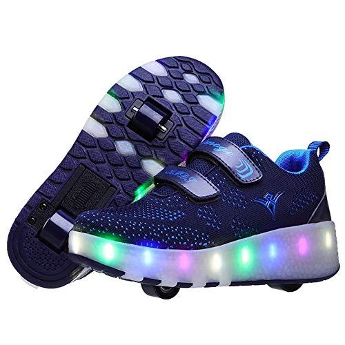 Homesave Kinder Skateboard Schuhe Kinderschuhe mit Rollen LED Skate Rollen Schuhe USB Aufladbare Sportschuhe Laufschuhe Sneakers mit 2 Räder Jungen Mädchen,DarkBlue,36EU