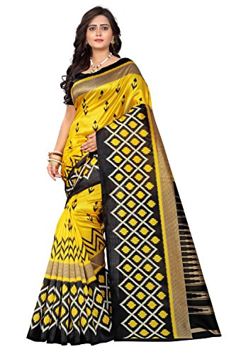 Jaanvi Fashion Art Silk Ikat Patola Kalamkari Printed Saree (Patola-Print-Black-Yellow)