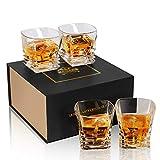 KANARS Lot de 4 Pièces Verre a Whisky, Verres à Whiskey en Cristal, Belle Boîte Cadeau, 260ml