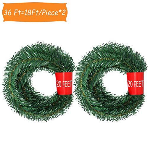 YQing 5.5 M Decoraciones de Navidad Guirnalda, 2 Piezas Navidad Pino Abeto Guirnalda Artificial Guirnalda...