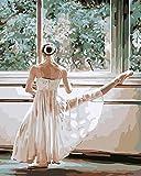 ESOOR DIY Malerei Kinder Lacke Farbe nach Anzahl Ballett Tänzerin 16x20 Zoll ohne Rahmen