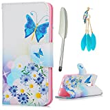 Huawei Honor 5C Case,Badalink PU Leather Kickstand Magnetic Closure Flip Folio Wallet Case Soft Rubber TPU Bumper with Card Holder for Huawei Honor 5C(Blue butterfly)