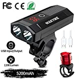 WAKYME Bike Light Set, 5200mAh USB Rechargeable Bicycle Light with Power Bank Function