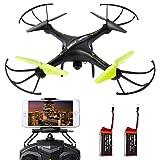 SGILE 2.4 GHZ Drone Esacottero Giroscopio a 6 assi con fotocamera Wi-Fi 720P HD / Blocco altitudine/ Ritorno domestico / Modalità di rotazione 360, regalo per Bambini Adolescenti, Nero