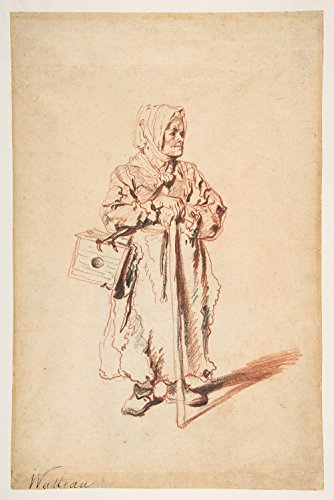 Jean Antoine Watteau - Standing Savoyarde with a Marmot Box - Medium - Semi Gloss - Black Frame