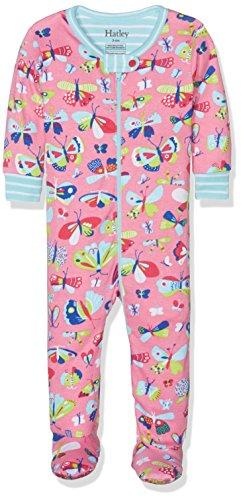 Hatley Baby-Mädchen 100% Organic Cotton Footed Sleepsuit Schlafstrampler, Mehrfarbig (Pretty Butterflies Multicoloured), 74 -