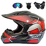 Casque Motocross, Adulte Casque Off-Road Kit (4 Pcs) avec Lunettes Gants Masque -...