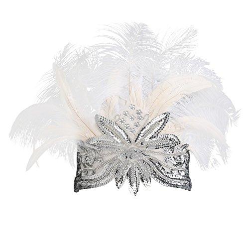 er Feder Stirnband Damen Gatsby Accessoires Retro Feder Stirnband 20er Kopfschmuck Flapper Gatsby Zubehör (Weiß) (1920-kostüm-ideen)