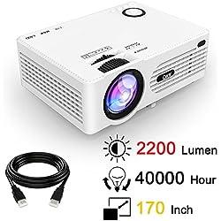 Proiettore LCD QKK da 2200 Lumen, Mini Proiettore, Supporta 1080P Full HD, HDMI, VGA, USB x 2, SD, AV e Interfaccia Cuffie, incluso HDMI e cavo AV, Bianco.
