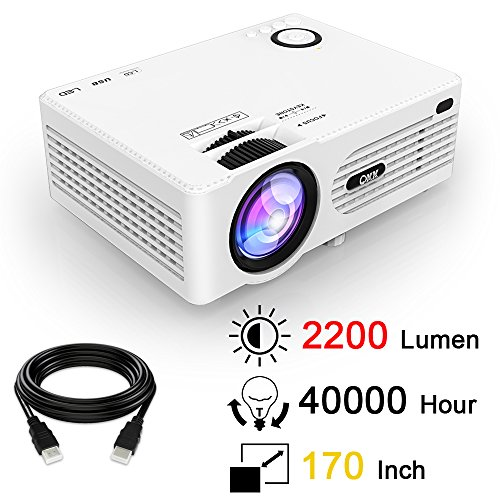 QKK 2200 Lumens LCD Projector, Mini Home Theater Projector, Supports 1080P Full HD, HDMI, VGA, USB x 2, SD, AV and Headphone Interface, with HDMI and AV Cable, White.