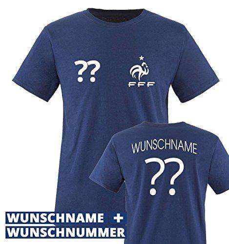 Frankreich France WM 2018 KINDER T-Shirt Trikot Look Fußball+inkl.Druck Name+Nr