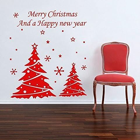 Yanqiao due alberi di Natale Adesivo da parete per soggiorno personalità decorazione finestra decalcomania da parete in vinile removibile, casa decorare e dimensioni 100,1x 113cm Rosso Rosso