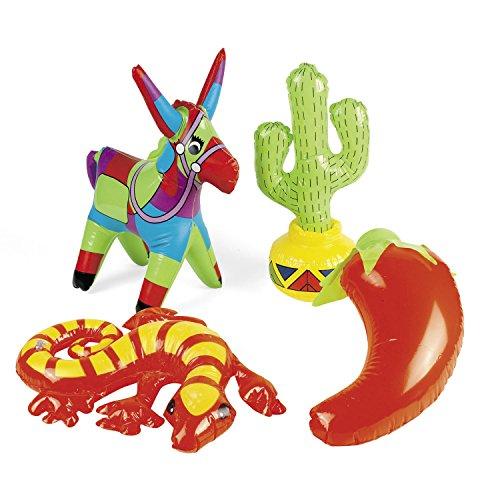 t mit aufblasbarem Esel Gecko Kaktus Chilli 4 Stück Palandi® (Aufblasbarer Kaktus)