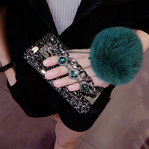 Cover per iPhone 7, Custodia per iPhone 7, Bonice Luxury Bling Glitter 3D DIY Strass Rigida Plastica Hard - Bonice Case Cover Shock-Absorption Bumper,Duro Plastica PC Protettiva,Cristallo Diamante Vol Green
