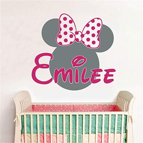 wandaufkleber 3d Wandtattoo Kinderzimmer Mickey Minnie Mouse Wall Art Decal Sticker Personalized Name Minnie Mouse Vinyl Wall Stickers Baby Wall Decals Hot Pink Wall Stickers For