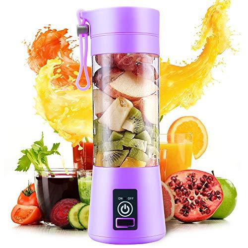 Exprimidor Eléctrico USB Juicer Licuadora Taza de Jugo Máquina de Exprimidor de Botellas de Agua de 400 ml Con 4 Cuchillas, Batería Recargable de 1000 mAh (Purple)