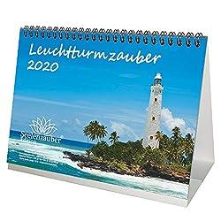 Leuchtturmzauber DIN A5 Tischkalender Querformat 2020 Leuchtturm Geschenk-Set: Zusätzlich 1 Grußkarte und 1 Weihnachtskarte - Seelenzauber