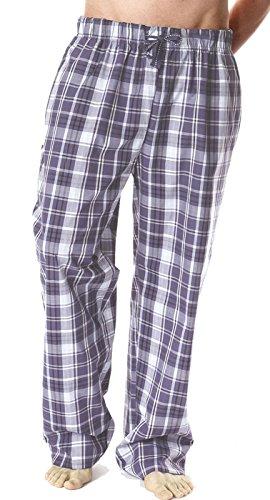 Herren Lange Pyjamahose, Polyester-Baumwoll-Gemisch, kariert Grau - Grau