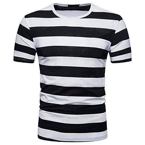BURFLY Herrenhemd Herren Herrenhemd Herren Sommer Casual V-Ausschnitt Pullover T-Shirt Sport Gestreift Shirt (M, SCHWARZ)
