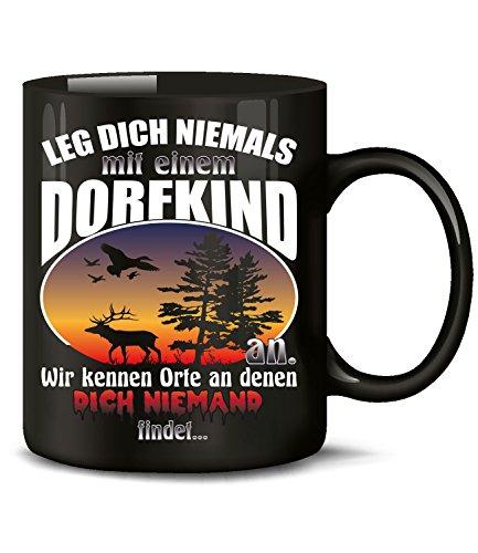 love-all-my-shirts Leg Dich Niemals mit einem Dorfkind an wir kennen Orte an 5388 Bauer Fun Tasse Becher Kaffeetasse Kaffeebecher Schwarz