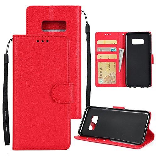 XHD-Phone protection XHD-Telefonschutz für Samsung Mit Lanyard, Card Slot, Magnetic Buckle Öffnen Sie die Phone Shell für Samsung Galaxy S8 Einfach & praktisch (Color : Red) (Plus Schutz Classic Slip)