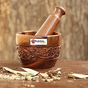 PEBBLE CRAFTS Handmade Wooden Kitchen Okhli Masher Mortar Pestle with intense carving