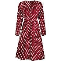 Minzhi Frauen punktierte Einreiher Langarm V-Ausschnitt-Kleid Taschen Polyester