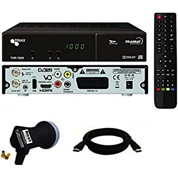 Triax THR7600 HD Récepteur satellite + Carte FRANSAT + Câble HDMi + LNB Single Best Germany 0,1dB