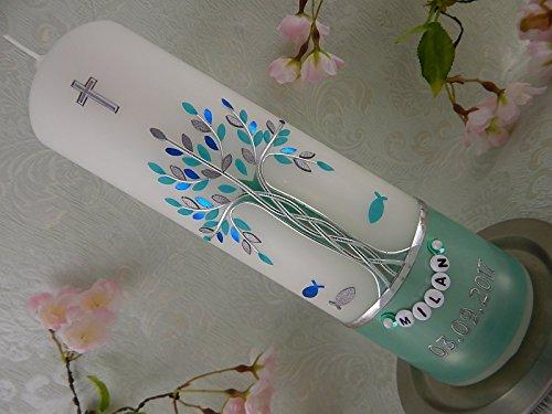 Taufkerze Lebensbaum mit Fische mint silber modern Taufkerzen Mädchen Junge mit Namenskette 250/70 mm inklusive Beschriftung
