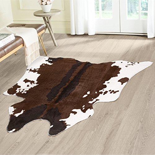 Kuh Hide Animal Print Bereich Teppich-Maßnahmen 4.1x 4,15, Faux Kuh Print Teppich, Braun und Elfenbein, Schönes Dekor für Ihr Zuhause
