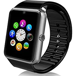 MallTEK Smartwatch Bluetooth, Smartwatch 1.54'' with SIM Card and Memory Card Slot Smartwatch Band with Camera Facebook Wechat Pedometer Sleeping Monitor Smart Watch for Android Mobile Phone (Silver)