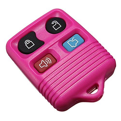 GOZAR Gummi-Pad 4-Tasten-Fernbedienungs Schlüssel Shell Fob Case 4 Farbe Für Ford-Pink
