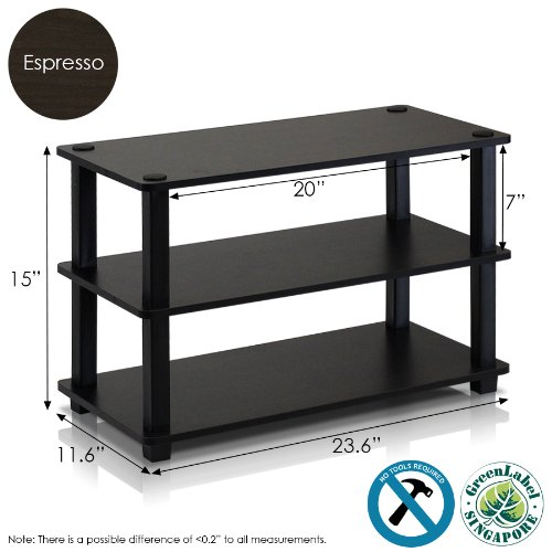 Furinno Laptoptisch 13080ex/BK turn-s-tube 3-Tier-Schuhregal, Espresso/schwarz, holz, Espresso and...