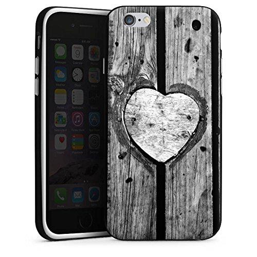 Apple iPhone 5 Housse Outdoor Étui militaire Coque Bois C½ur Saint-Valentin Housse en silicone noir / blanc