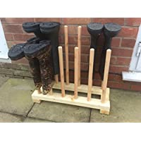 welly rack wellingtons,wooden boot rack/stand for 6 pairs of boots.