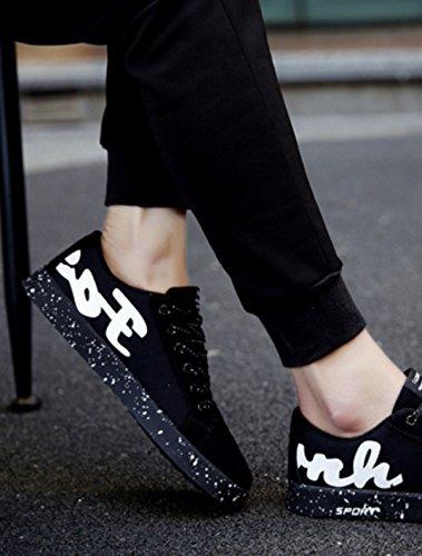 GRRONG Chaussures De Planche à Roulettes étudiants Chaussures De Sport De Mode Masculine Black
