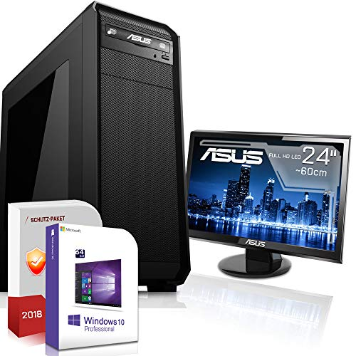 Multimedia Office PC mit Monitor Intel Core i3 8100 4x3.6GHz 8.Generation |ASUS Board|24 Zoll TFT|8GB DDR4|480GB SSD|Intel UHD 630 Grafik 4K HDMI|DVD-RW|USB 3.1|SATA3|Windows 10 Pro|3 Jahre Garantie