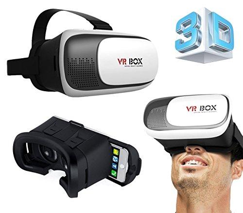 GotiTronics Gafas HD de Realidad Virtual compatibles con iPhone 5/6/7, Galaxy S5/S6/S7 y otros teléfonos móviles para videojuegos 3D, películas de pantalla dividida y videos panorámicos (VR Box 2.0)