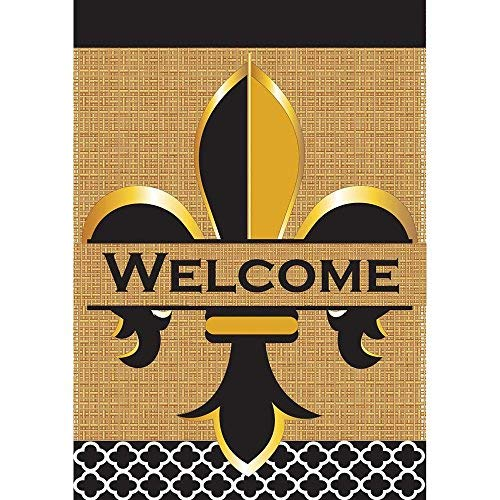 Welcome Fleur de Lis Schwarz Gold Ton 18x 13rechteckig Jute doppelt Aufnäher Kleine Garten Flagge Gold Magnolia